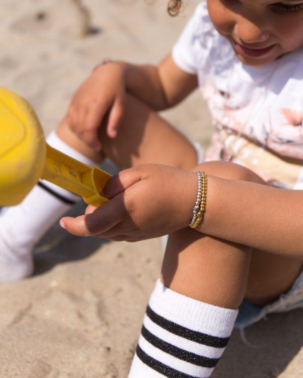 kinder kniekousen wit/zwart 1 tot 3 jaar