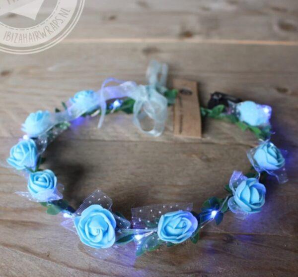 blauwe led hoofdband met roosjes