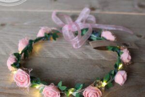 roze led hoofdband met roosjes