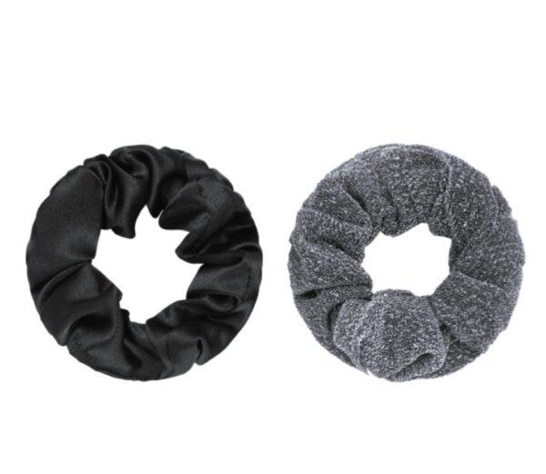 scrunchie set zwart/zilver